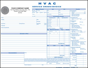 HVAC Service Order / Invoice - PERSONALIZED